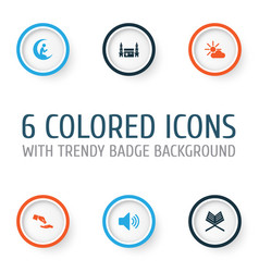 Holiday icons set collection of bullhorn vector