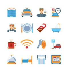 Hotel Service Flat Design Icons vector