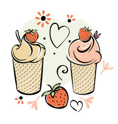 Ice cream with strawberry black white pink creame vector