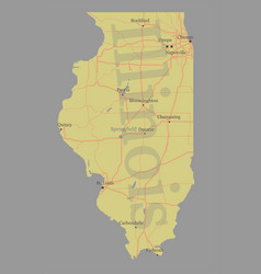 Illinois accurate exact detailed state map vector