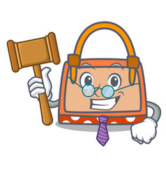 Judge hand bag mascot cartoon vector