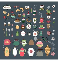 Large set of teacups teapots pastries and sweets vector