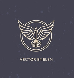 linear logo design template - eagle emblem vector image