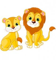 lion couple vector image