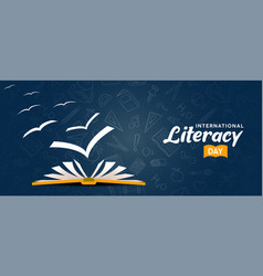 Literacy day card open book with bird pages vector