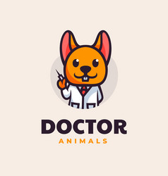 Logo animal doctor mascot cartoon style vector