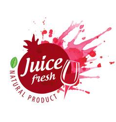 logo pomegranate juice splash on white vector image