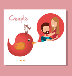 lovers couple with speech bubble and bird vector image