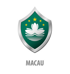 Macau flag on metal shiny shield vector