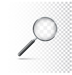 Magnifying glass with metal frame and black vector