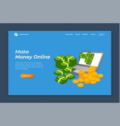 Make money online banner landing page background vector