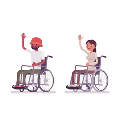 Male female young wheelchair user high five vector