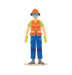 Man standing in industrial protective clothing and vector