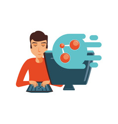 man with desktop computer and share symbol vector image