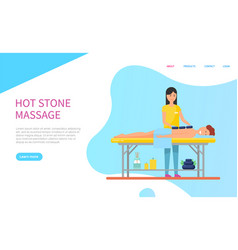 masseuse doing hot stone massage for client vector image