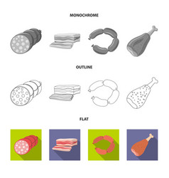Meat and ham symbol set of vector