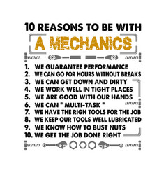 Mechanic quote and saying 10 reasons vector