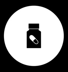 medical pills simple black and green icon eps10 vector image