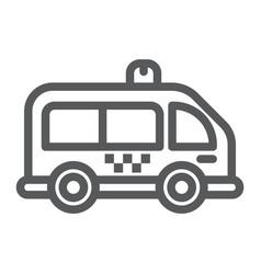 Mini bus line icon automobile and car minivan vector