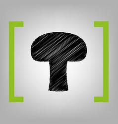 Mushroom simple sign black scribble icon vector