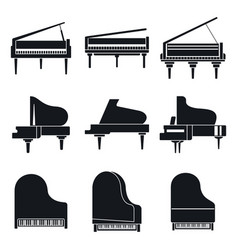 music grand piano icons set simple style vector image