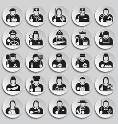 Occupations icon set on plates background for vector