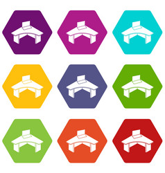 office table icons set 9 vector image