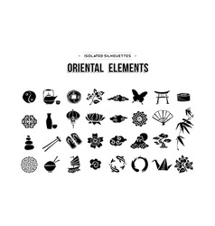 Oriental and Asian icons set isolated over white vector