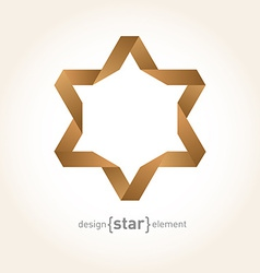 Origami david star from old paper vector