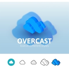 Overcast icon in different style vector