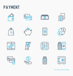 payment thin line icons set vector image