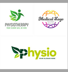 Physiotherapy people leaf nature medical global vector