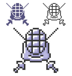 Pixel icon swordplay in three variants fully vector