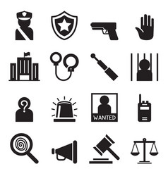 Police icons set silhouette vector