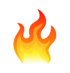 red fire flat icon isolated on white background vector image