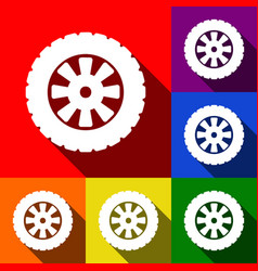 Road tire sign set of icons with flat vector