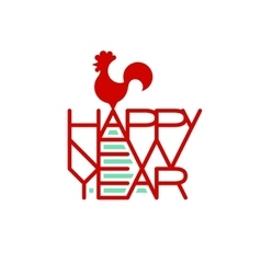 Rooster standing on the words Happy New Year vector