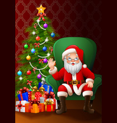 Santa claus sitting in the living room vector