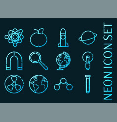 Science set icons blue glowing neon style vector