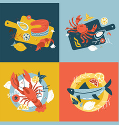 seafood collection set hand-drawn isolated vector image