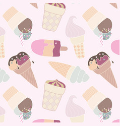 seamless retro multicolor ice cream pattern vector image