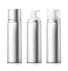Set - 3d realistic silver foam bottles vector
