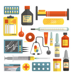 set hospital and medical icons in flat vector image