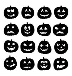 Set of 16 halloween pumpkins vector image