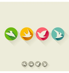 Set of birds Flat icons with long shadow vector image