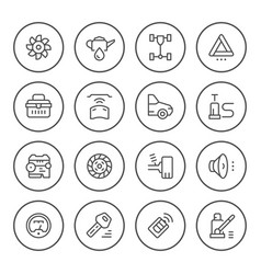 set of car related round line icons vector image