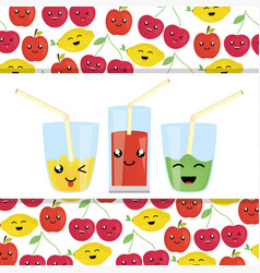 set of glasses with juice fruits kawaii characters vector image