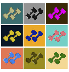 set of icons in flat design dumbbells vector image
