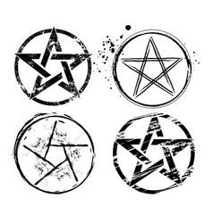 Set painted pentagrams vector