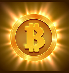 shiny golden bitcoin isolated on white blockchain vector image
